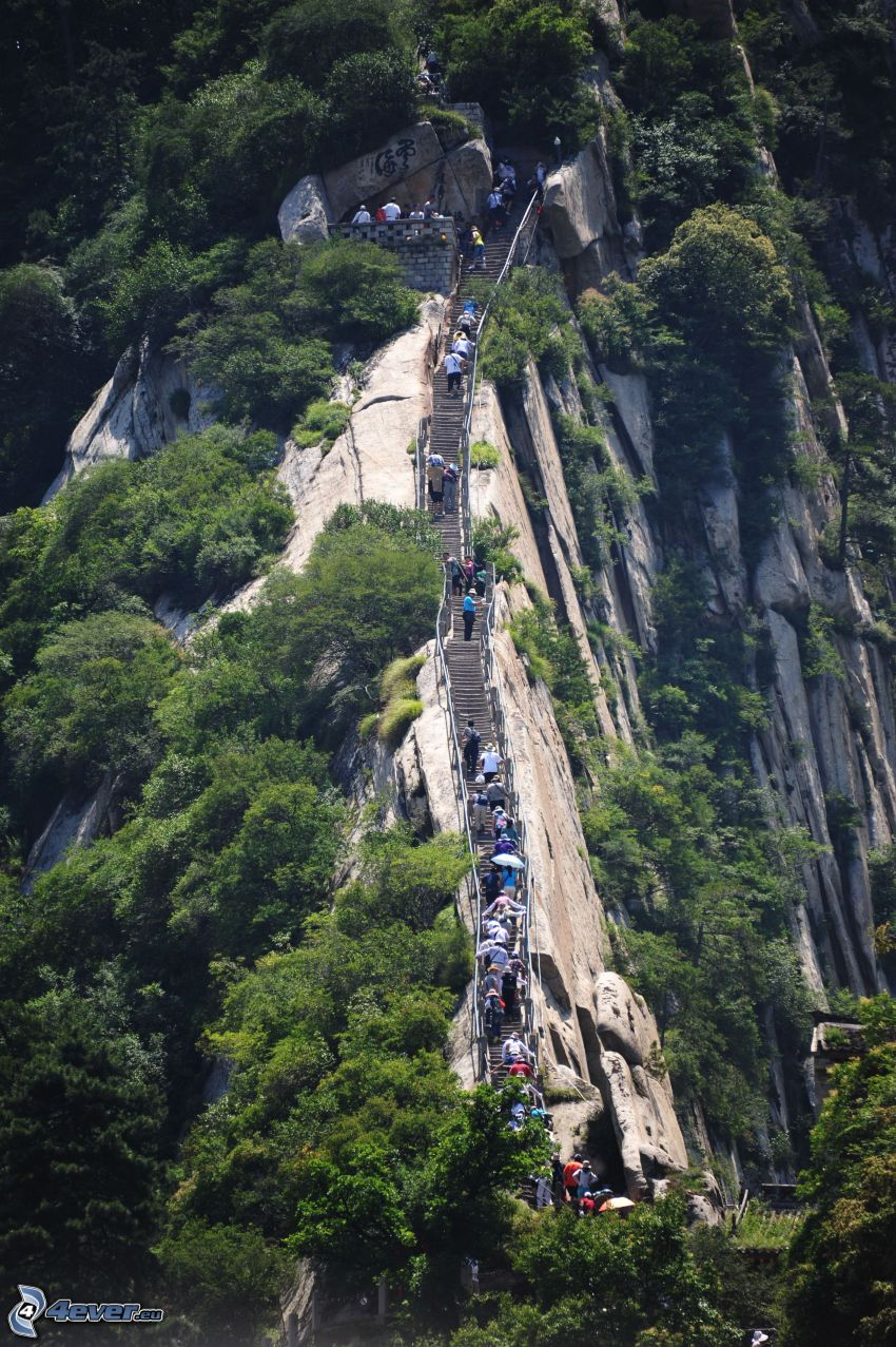 Mount Huang, rocky mountains, stairs, tourists