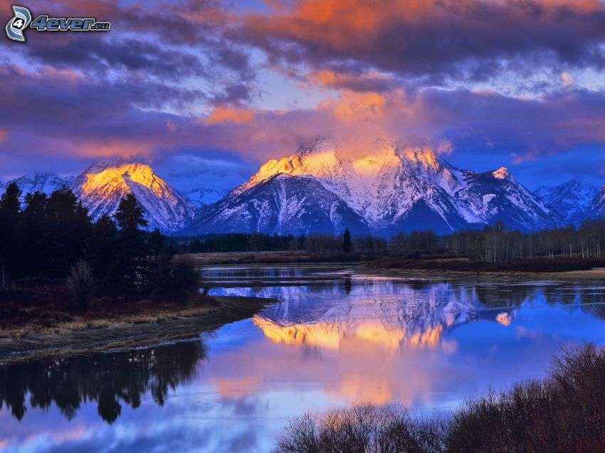 Mount Moran, Wyoming, lake, reflection, snowy mountains, clouds