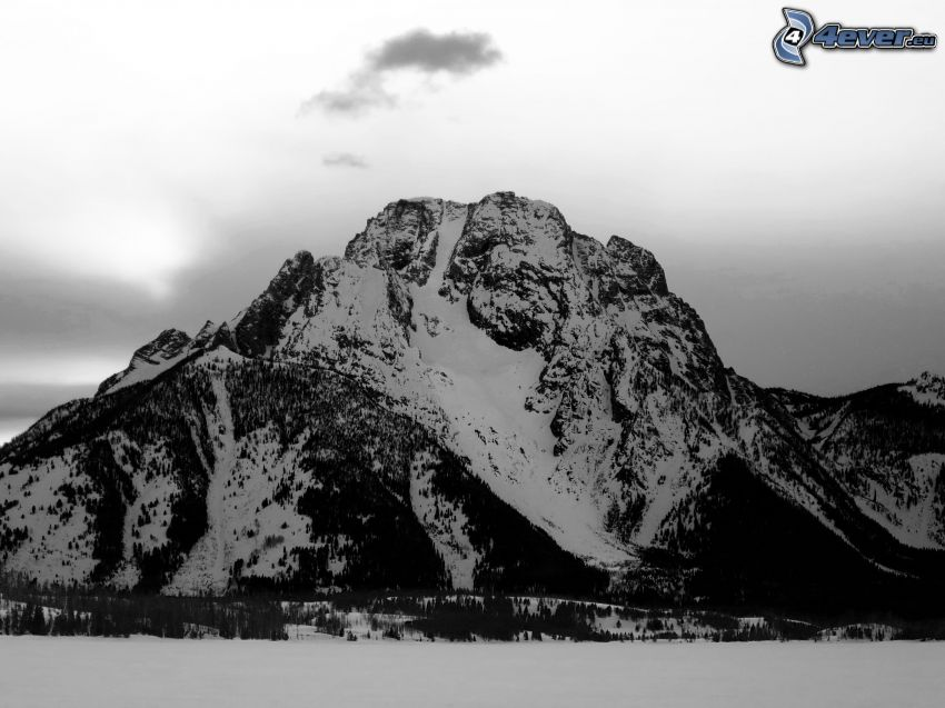 Mount Moran, Wyoming, snowy hill, black and white photo