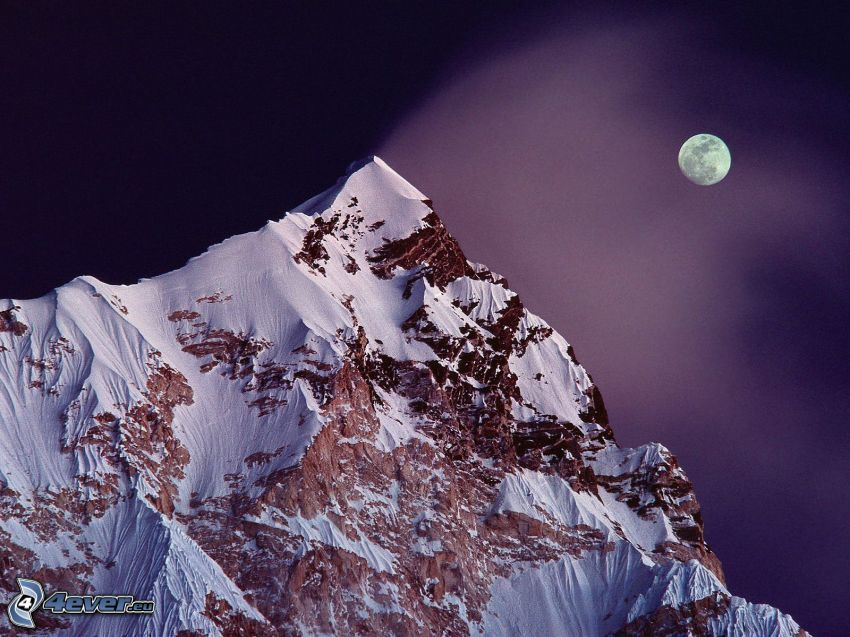 Mount Nuptse, hill, mountain, snow, Moon