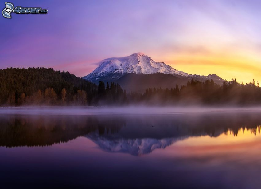 Mount Shasta, evening sky, after sunset, mountain lake, reflection