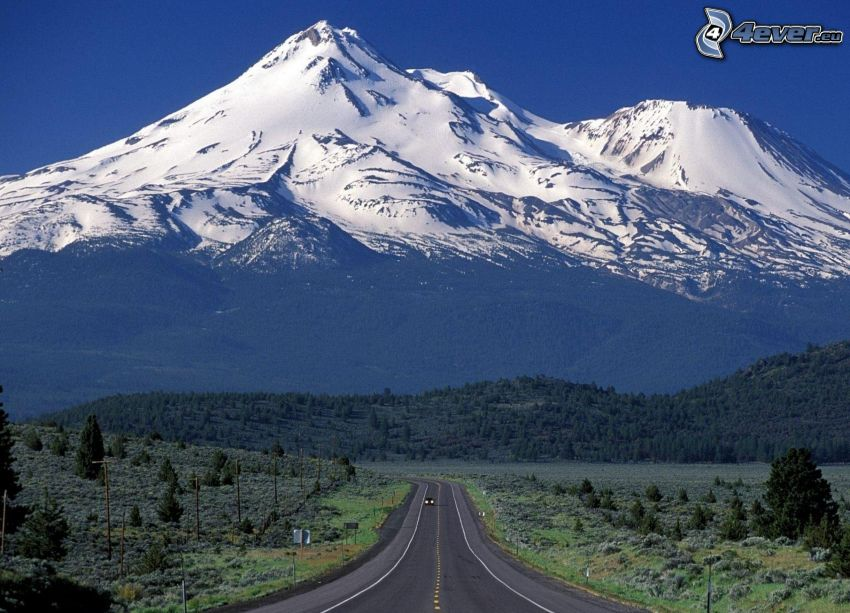 Mount Shasta, snowy hill, road