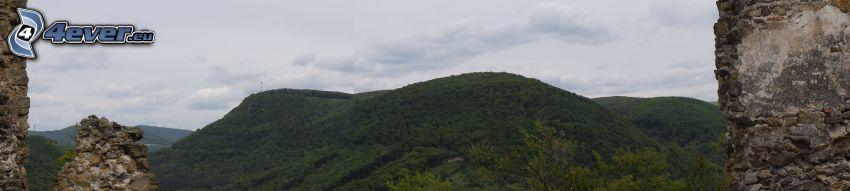 mountain, ruins