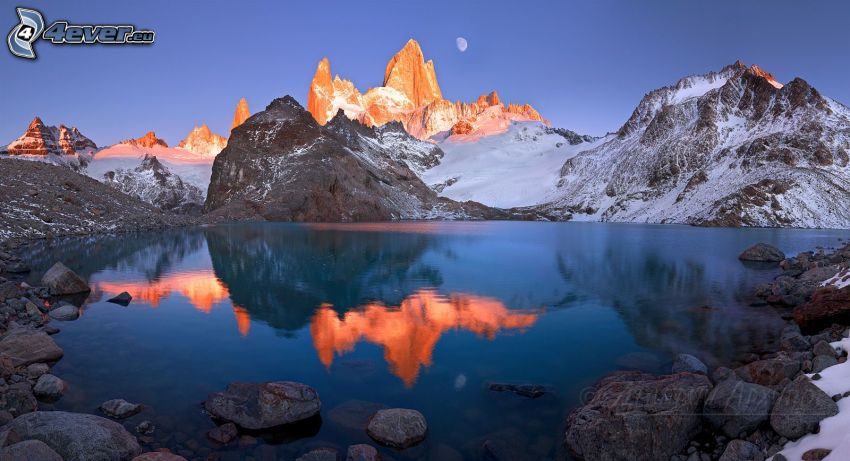 Patagonia, mountain lake, mountains, moon