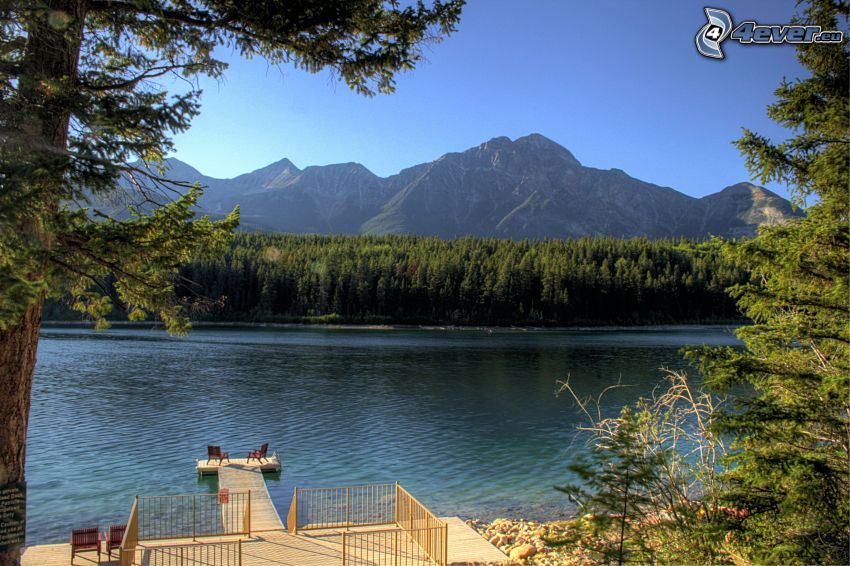 Pyramid Mountain, coniferous forest, lake, terrace, pier