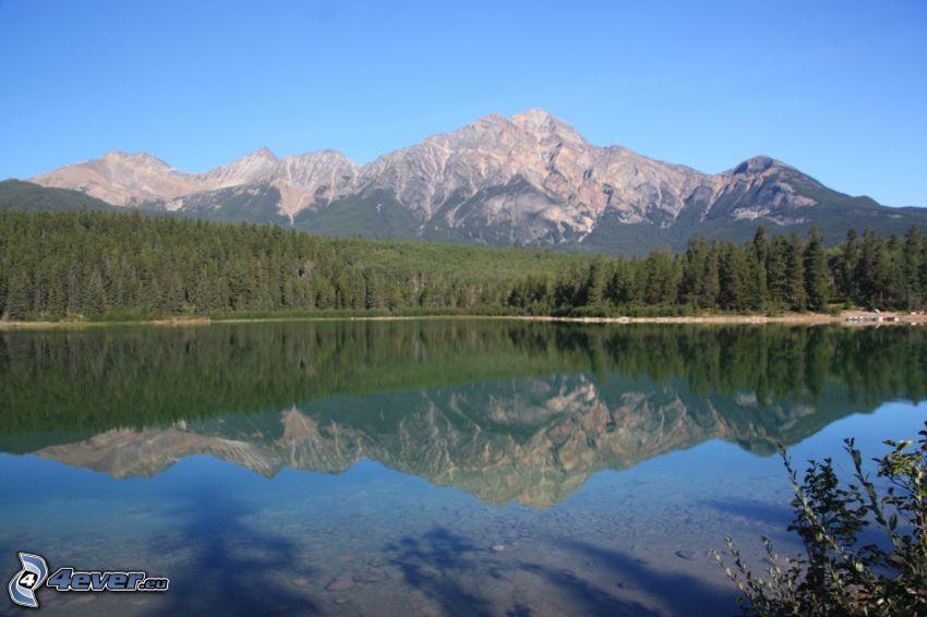 Pyramid Mountain, mountain lake, reflection, forest