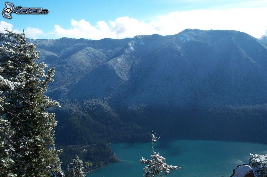 Pyramid Mountain, rocky mountain, mountain lake