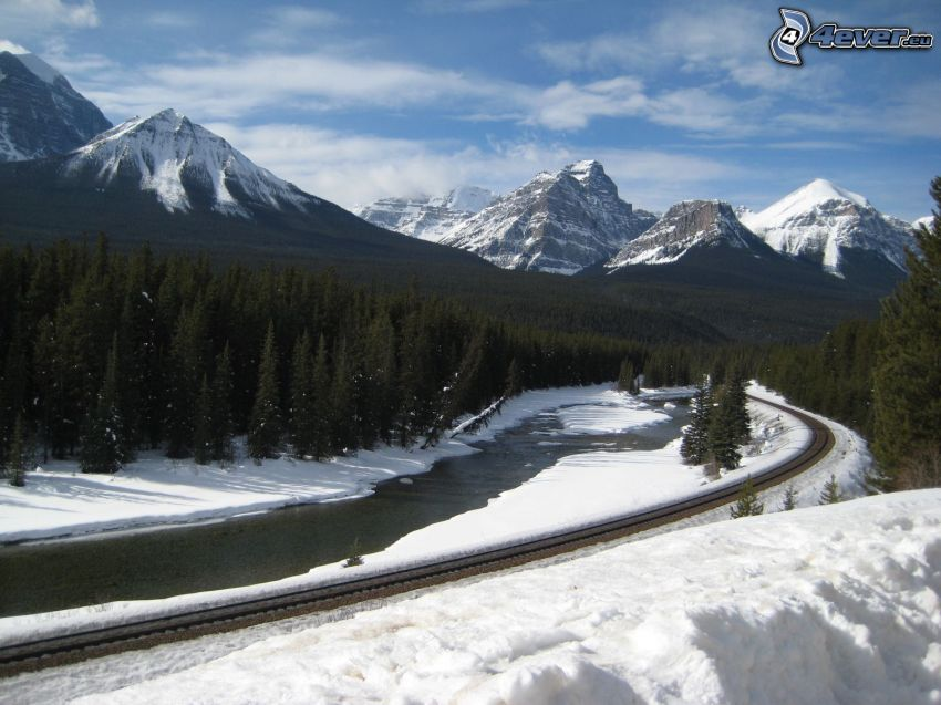 railway, River, snowy landscape, snowy mountains, coniferous forest