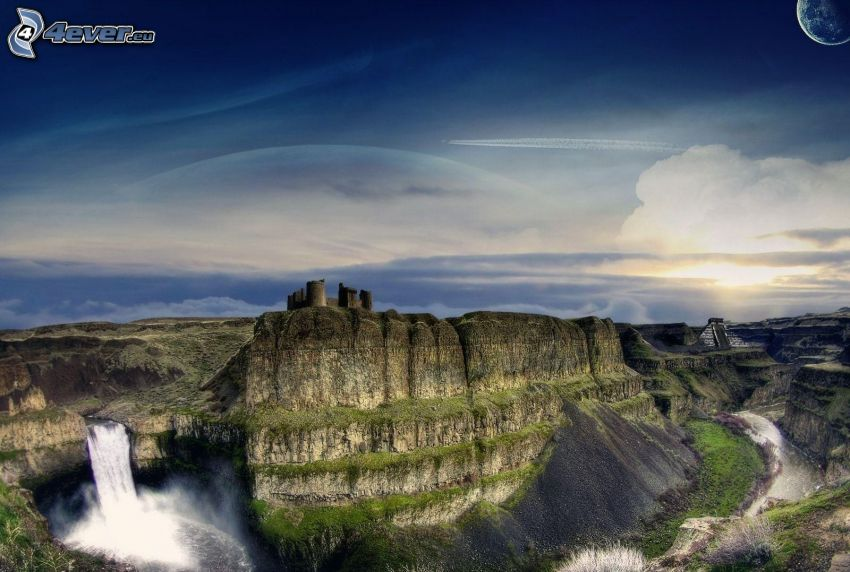 rocky mountains, castle, waterfall, planet, HDR