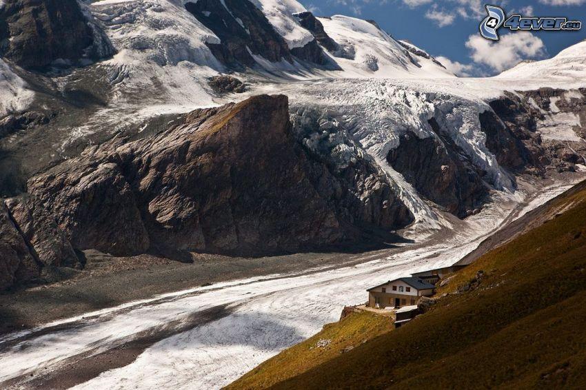 rocky mountains, snow, house