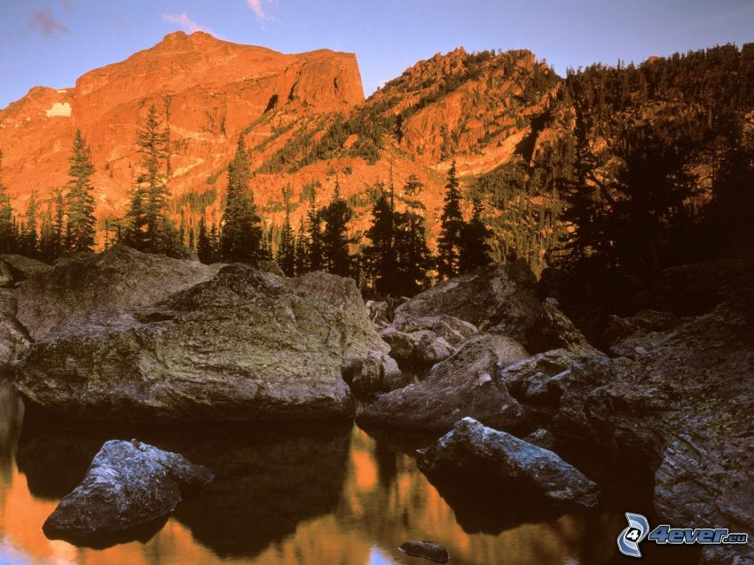 Rocky Mountains, sunrise, rocks, mountains, mountain lake, coniferous trees