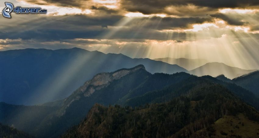 rocky mountains, trees, clouds, sunbeams