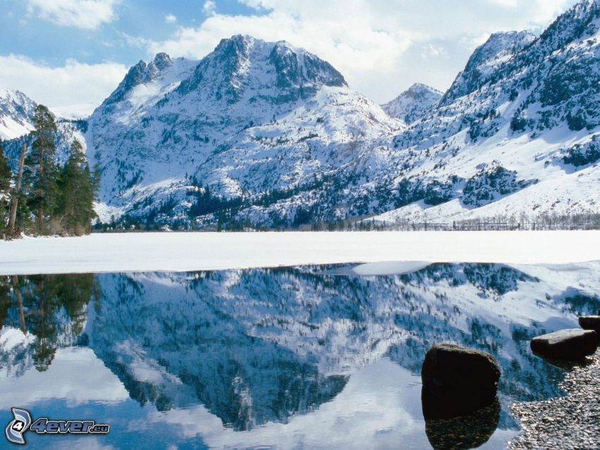 Sierra Nevada, snowy mountains, mountain lake, reflection