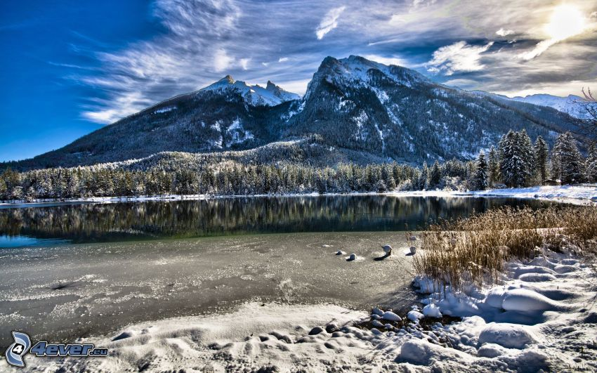 snowy hill, lake, snow, HDR