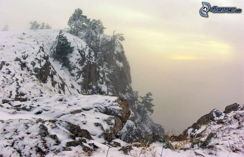 snowy hill, rocky mountain