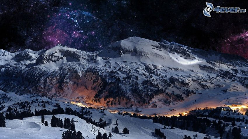 snowy hill, ski slope, starry sky