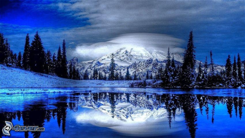 snowy hill, snowy landscape, lake, reflection