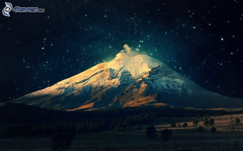 snowy hill, starry sky, night