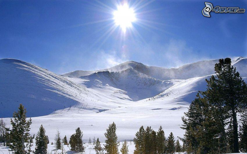 snowy hills, sun