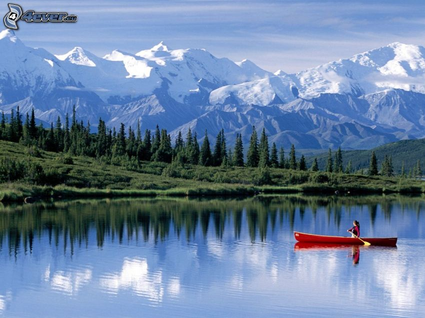 snowy mountains, coniferous forest, canoe