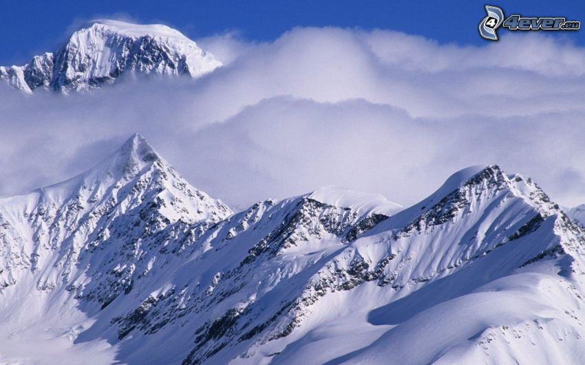 snowy mountains, fog, clouds, Alaska