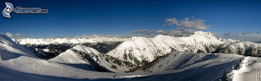 snowy mountains, panorama