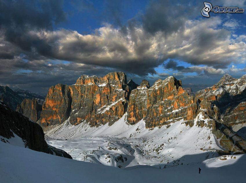 snowy mountains, rocky mountains, clouds