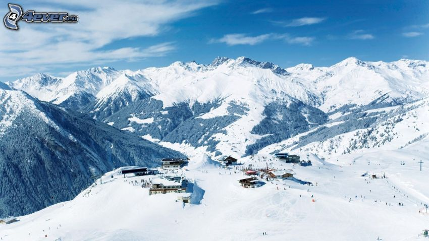 snowy mountains, ski slope, skiers, hotel, cottage