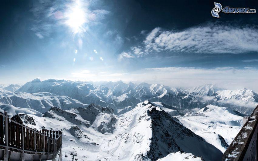 snowy mountains, sun