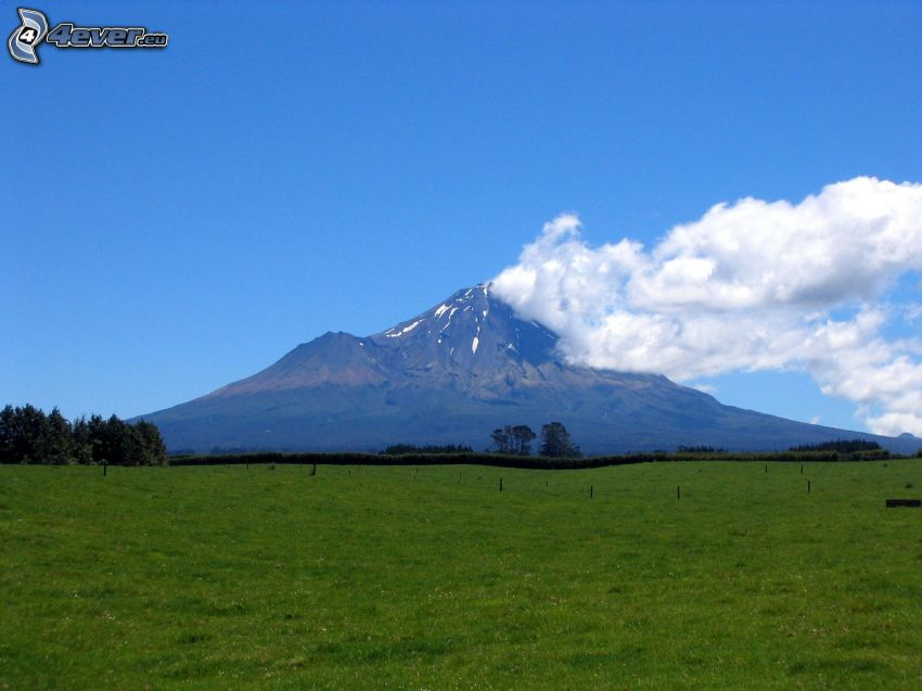 Taranaki, clouds, meadow