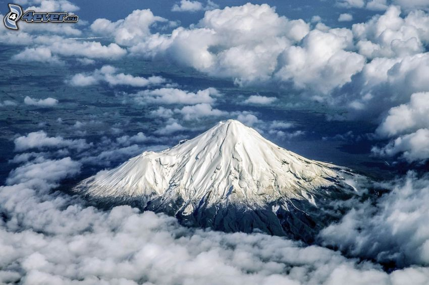 Taranaki, over the clouds