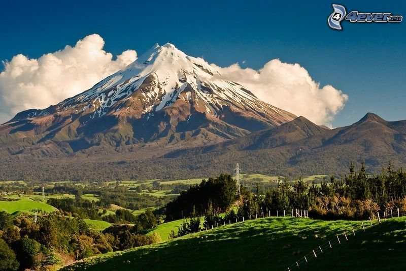 Taranaki, snowy hill, forests and meadows