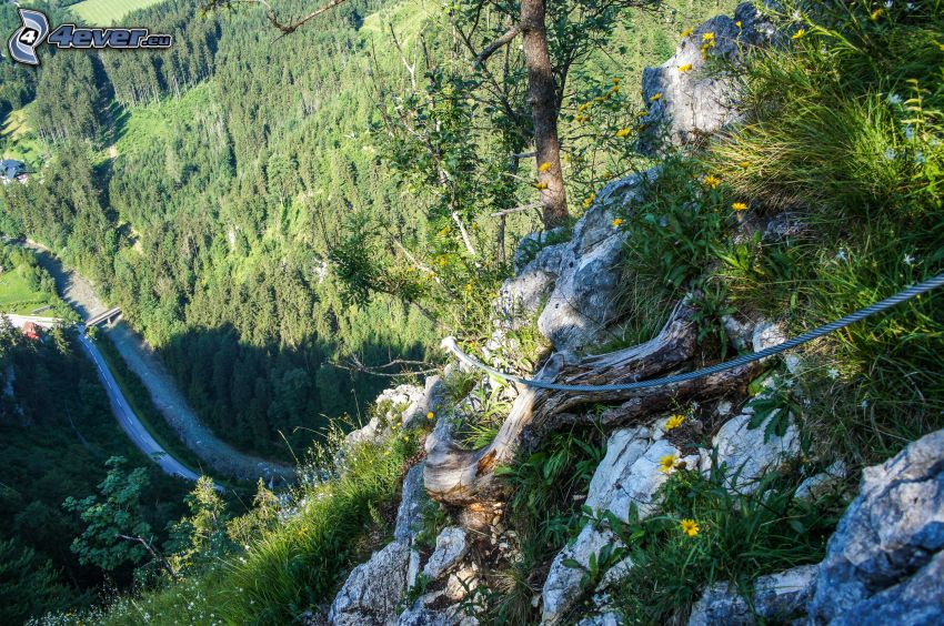 Totes Gebirge, cliff, road
