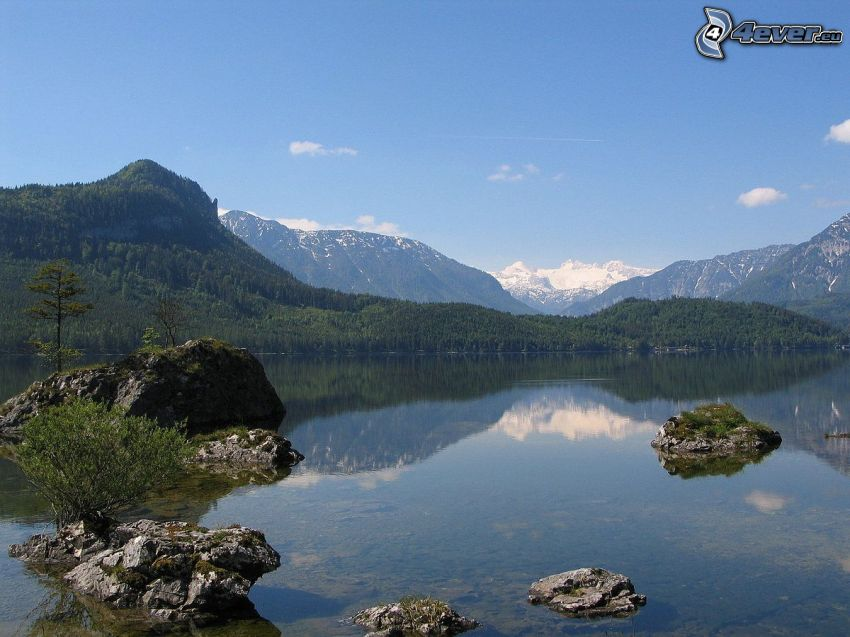 Totes Gebirge, lake, forest, rocky mountains