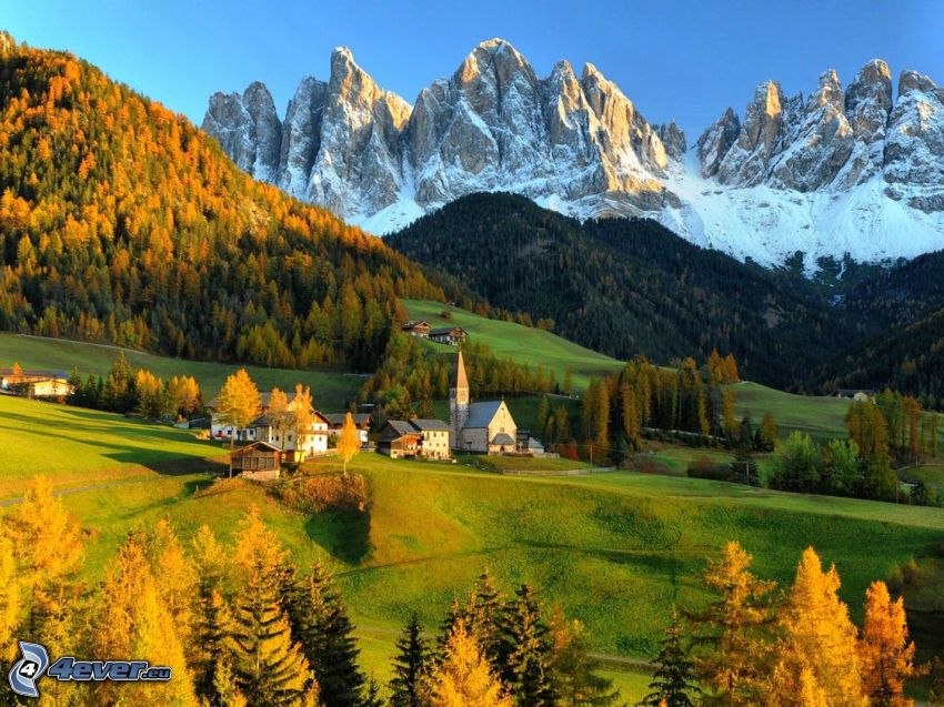 Val di Funes, Italy, village, snowy mountains, forests and meadows