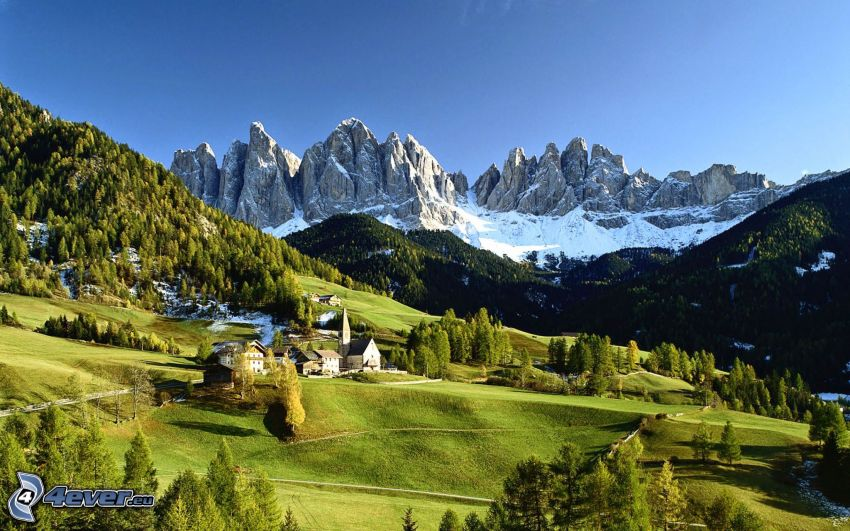Val di Funes, village, meadows, coniferous forest, rocky mountains, Italy