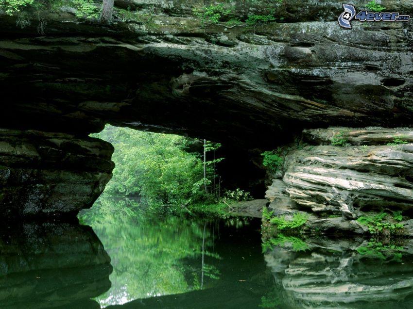 natural stone gate, River, greenery
