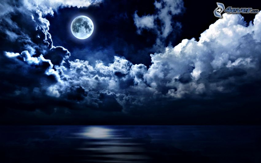 open sea, moon, dark clouds, night