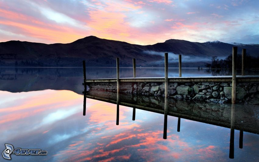 pier, lake, mountain, evening sky