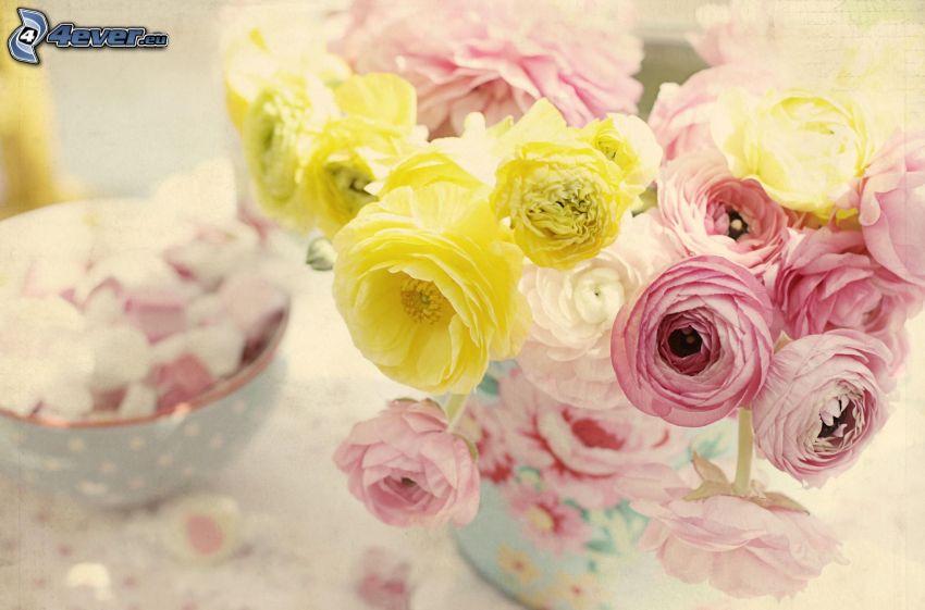 bouquet of roses, rose petals