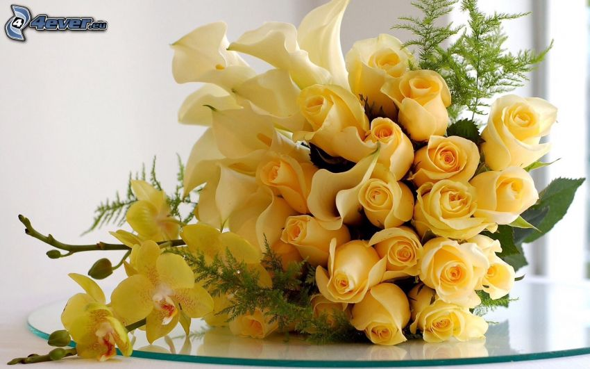 bouquets, yellow roses, orchids