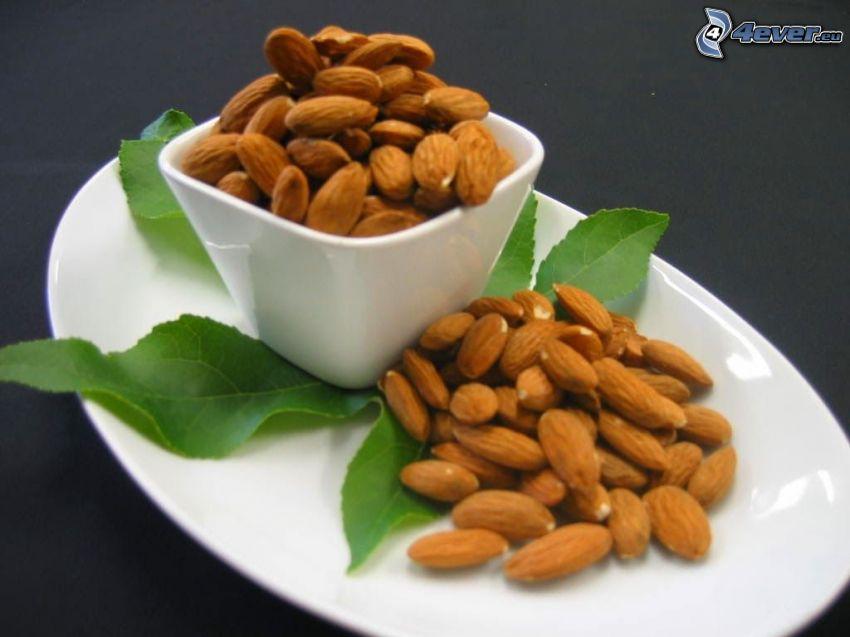 almonds, plate, bowl