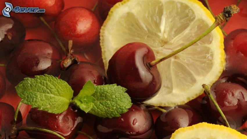 cherries, lemon