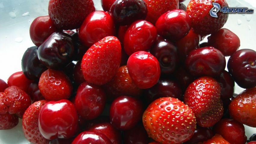 cherries, strawberries