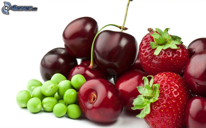 fruit, pea, cherries, strawberries