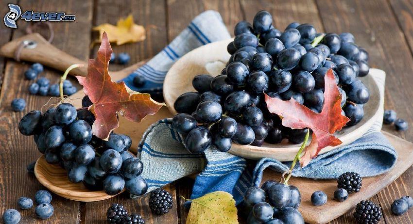 grapes, blackberries, blueberries