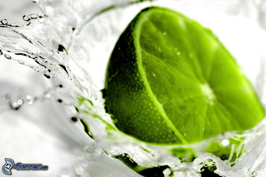 lime, water, fall, drops
