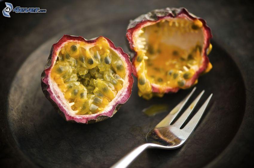 passionfruit, fork