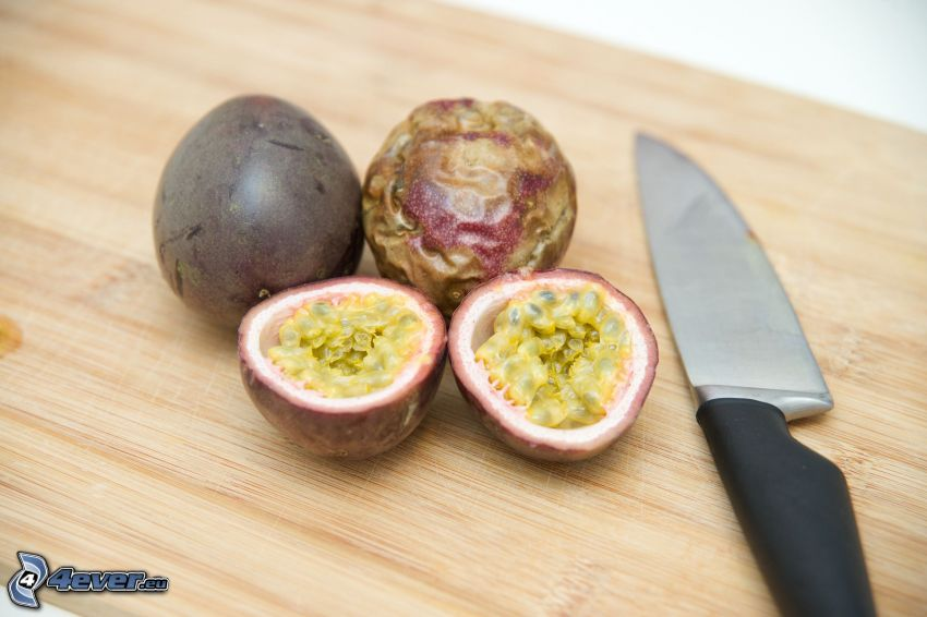 passionfruit, knife