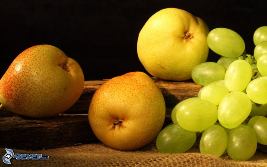 pears, grapes
